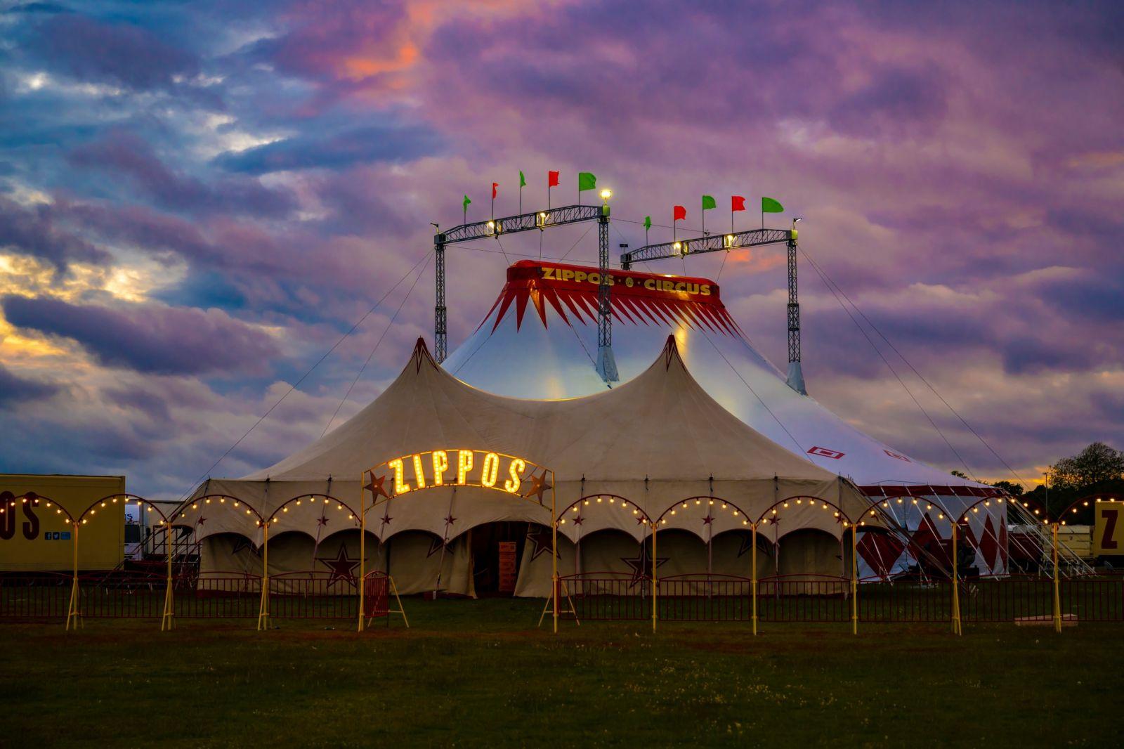 Zippos Circus Big Top at Night. Photographer credit: Piet-Hein Out